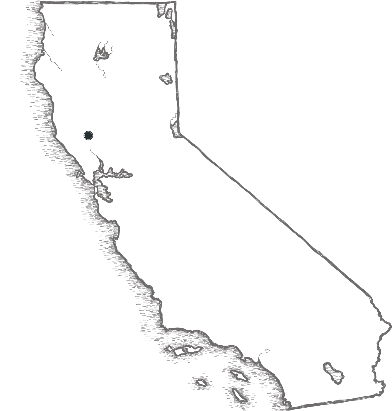 Artistic sketch of the state of California - Calistoga highlighted