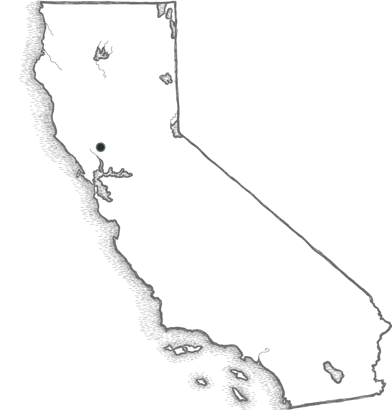 Artistic sketch of the state of California - Rutherford highlighted